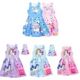Wholesale england suspenders - 5Styles Cute Unicorn Dresses Girls Dresses Sleeveless Baby Girl Party Dresses Fashion 2018 Kids Girls Clothing Girls Dress Princess Dress