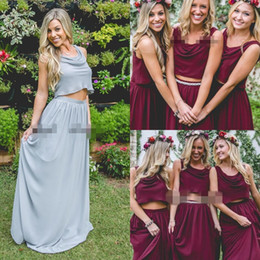 Wholesale Color Wine Red Dress - 2018 Burgundy Wine Red Two Pieces Country Long Bridesmaid Dresses 2018 Custom Plus Size Crop Top Junior Maid of Honor Wedding Guest Dresses
