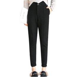 Argentina 2017 pantalones de lana de moda otoño invierno pantalones de cintura alta casual mujeres pantalones mujeres calientes cheap woolen trousers Suministro