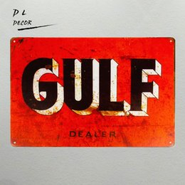 "Wholesale Holiday Auto - Tin signs ""Gulf Dealer"" Oil Gas Pump Metal Parts Service Auto Shop Garage Wall Decor art"