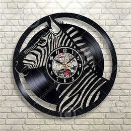Wholesale Zebra Home Decor - Africa Zebra Wildlife Elements Modern Creative Fashion Home Decor Vinyl Art Quartz Wall Clock (Size: 12 inches, Color: black)
