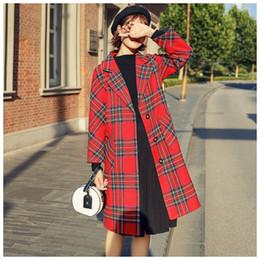 Winter Frau Plaid Red Wollmäntel 2018 Outwear weiblich elegant Einreiher Trench Coats Damen lange Jacken