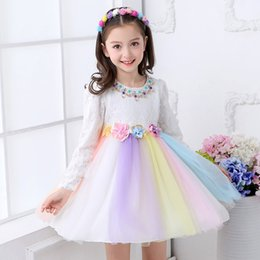 Wholesale Tulle Puff Flowers - Girls flower wedding dress 3D flowers Beads Lace Tulle dress Rainbow Puff sleeve princess dress Long sleeve Boutique Girls clothing 2018