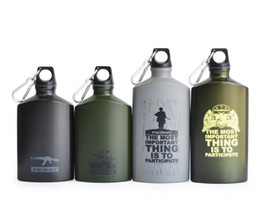 Wholesale Green Flasks - Outdoor Sports Water Bottle Insulation Aluminum Flask Leak-proof Army Canteen Oval Kettle Loop Lid Narrow Mouth