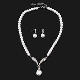 Wholesale Classic Pearl Set - Bridal Faux Pearls Earring Necklace Set Bridal Jewelry Cheap Hot Sale Holy White Rhinestone Crystal Party Prom Cocktail Party