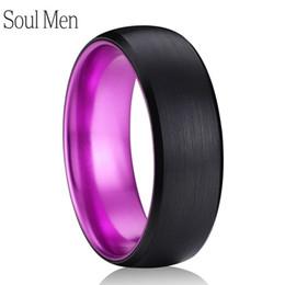 anel de carboneto de tungstênio tamanho 13 Desconto 8mm preto cor roxa escovado cúpula carboneto de tungstênio anel comfort fit homens mulheres prometer wedding band jóias tamanho 6 a 13