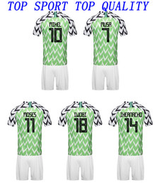 Wholesale national sport - 2018 2019 National Team home green soccer uniforms MOSES IWOBI MIKEL football kits adult's sports jerseys and shorts men's sporting sets