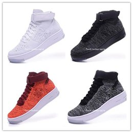 Wholesale Force Lights - 2018 High-quality forces Classical All White black high cut men & women Sports sneakers Running Shoes Forceing one skate Shoes 36-46