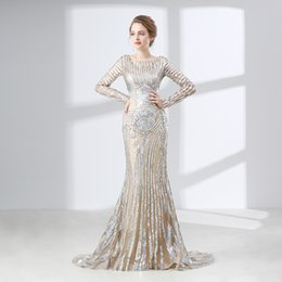 Wholesale Spoon Crystal - Sparkling Long-Sleeved Mermaid Prom Dresses Embroidery Lace Illusion Spoon Formal Evening Dress Celebrity Dress Special Occasion Dress
