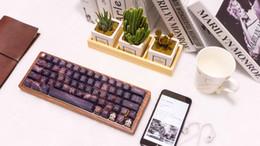 Wholesale Wooden Keyboards - GK64 Mechanical keyboard 64key dye sub keycaps wooden custom light rgb cherry profile keycap starry night free shipping dhl