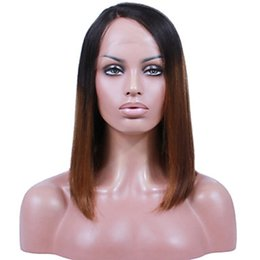 Wholesale African American Lace Wigs - Premier Affordable Brazilian Ombre Black Tone Brown Color Human Hair Lace Front Wig For African American