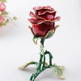 Wholesale Metal Flower Boxes - Rose Flower Trinket & Jewelry Box Enamel Hand Painted Creative Gifts Wedding Favors