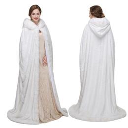2019 weißer weihnachtspelzmantel 2019 Winter Faux Fox Fur Lange Brautmäntel Plus Size Mäntel Braut Jacke Weihnachten Weißes Kleid günstig weißer weihnachtspelzmantel