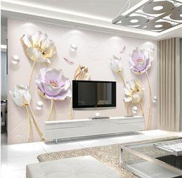 Wholesale Tulip Flower Art - 3D Embossed Tulip Flower Jewelry Wall Mural Photo Wallpaper Home Wall Art Decorative Papel De Parede papier peint en rouleau
