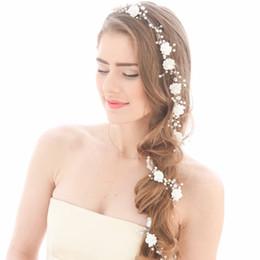 Perlenkette kopfstück online-Frauen Silber Metall Blume Perlen Hochzeit Tiara Kopfschmuck Haar Rebe Lange Braut Stirnbänder Hochzeit Kopf Kette Zubehör