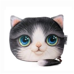 bijoux clé de chat Promotion Chat Head Coin Wallet Cute 3D Chat Face Coin Porte-monnaie Cas Fille Portefeuille Sac Bijoux Sac Poche P
