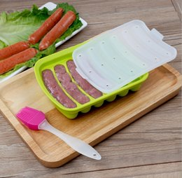 Wholesale Hot Dogs For Wholesale - Kitchen DIY Silicone Hot Dog Sausage Making Mold Maker Sausage Molds Tool Tray With Cover for Microwave Oven BBA127