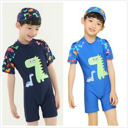 Wholesale dinosaur kids hat - Boy Summer One piece Swimsuit Baby Boy Clothes Polyester Dinosaur Printed Short Sleeve Swimwear with Swim Hat Kids Summer Swim Clothes M109