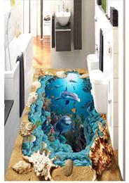 Autocollants de plage pour les murs en Ligne-Auto-adhésif personnalisé 3D plancher peinture murale papier peint 3D Beach Dolphin Flooring Stickers salle de bains salon carrelage décoration