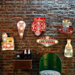 Vintage beleuchtete schilder online-Vintage Las Vegas LED Licht Leuchtreklamen für Bar Pub Home Restaurant Cafe Beleuchtung Zeichen Wandbehang Dekoration LED Zeichen N052