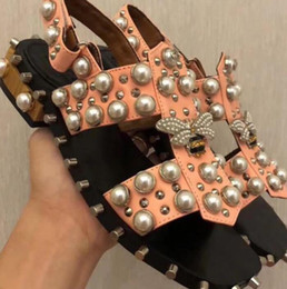 Wholesale Womens Heels Nude - 2018 summer womens black pink nude beige real leather Rhinestones Pearly Embellished flat ankle strap Gladiator sandals