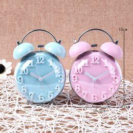 Wholesale Silent Alarm - Candy Color Alarm Clock Double Bell Silent Clock Quartz Movement Decorative Table Clock Kids Night Desk Clocks ZA6444