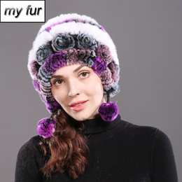 c413c278848 2018 Winter Women Natural Rex Rabbit Fur Hats Russia Warm Knit Real Rex  Rabbit Fur Caps Real Skullies Beanies Hat