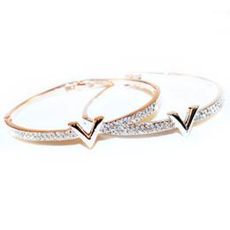 jóia bracelete de cristal Desconto Toda vendaWonlife Carta de Luxo V Pulseiras de Cristal Pulseira Feminina Famoso Projeto Strass Braço Cuff Pulseiras Mulheres Bijoux Jóias Presente