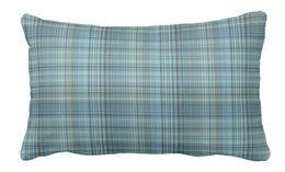 Cuscini plaid blu online-Cuscino lombare per esterno blu plaid khaki glen