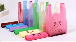 Wholesale Food Shopping Bags - 100 PCs Transparent Smile Vest Plastic Bag Food Shopping Bag Random Color