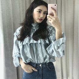 caad92fcad6b Casual Wrinkles Puff Sleeve Women Tops Round Neck Ruffles Girls Blouses  Solid Bow Pullovers feminino 2018 blusas de mujer discount ruffle blouse  tops