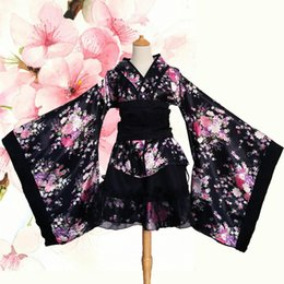 Sakura kimono online-Disfraz de cosplay de mujer de Halloween elegante traje de Sakura estampado de flores Vestido de bata de mujer de estilo japonés Vintage Lady Geisha Kimono