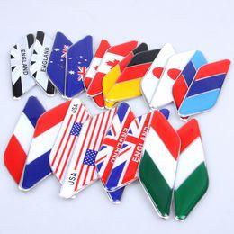 2pcs Pair 3D Aluminum Epoxy Australia Germany France Canada USA Japan Italy England Flag Fender Side Emblem Badge Decal Car Stickers