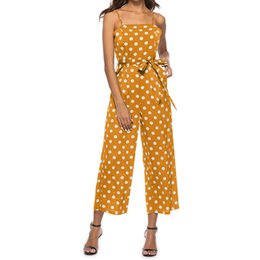 e4e11ecc401b Printed Dot Jumpsuits Women Strap Bow Waist Body Woman Bodysuits Fashion Wide  Leg Pant Playsuit Sleeveless Overalls Sexy 8L0846 sexy bow legged women on  ...