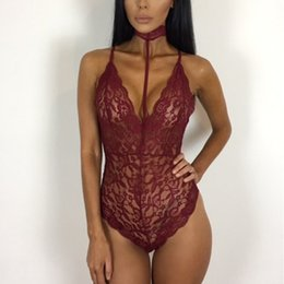 Wholesale crotchless teddy lingerie - Valentine's Day gift Red Cupless Crotchless Ruffled Sexy Teddy Lingerie front lace back half-transparent red erotic women's sleepwear