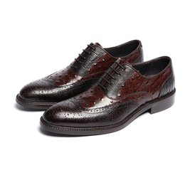 Wholesale Ostrich Shoes Men - High quality cowhide men shoes genuine leather Ostrich printed cut-outs black brown men dress shoes rubber outsole spring and fall oxfords
