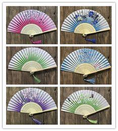 Wholesale cherry chinese - New 100pcs Chinese Japanese Folding Fan Sakura Cherry Blossom Pocket Hand Fan Summer Art Craft Gift