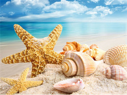 Canada Diy diamant peinture point de croix kit strass plein rond diamant broderie paysage bord de mer Starfish conque maison mosaïque décoration yx4067 cheap starfish decorations Offre