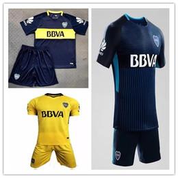 Wholesale Boca Juniors - 17 18 Boca Juniors Home Soccer Uniforms Men's Short Sleeve Thai Quality Soccer Jersey Shorts Boca Away Football Sets 3RD Blue Soccer kits