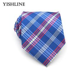 Wholesale Mens Checked Suits - KT060 HOT Mens' Neckties 8CM Blue Pink Plaid Check Silk Ties for Men Formal Business Wedding Party Suit Corbatas Para Hombre