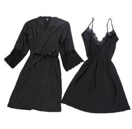 Abito da notte di due pezzi online-abito da donna sexy abito set accappatoio più gemello + mini abito da notte due pezzi degli indumenti da notte delle donne sonno set seta finta