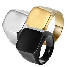 Wholesale simple silver rings for men - Simple Smooth Face Ring for Adult Men Silver Black Gold Stainless Steel Band Ring