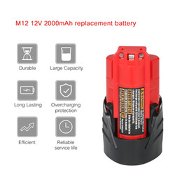 Wholesale 12v battery lithium - 12V 2.0Ah M12 Replacement Lithium-ion Battery Li-ion Battery for Milwaukee power Tools electric screwdriver 48-11-240148-11-2402