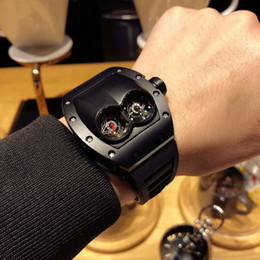 Wholesale 48mm Quartz - Luxury Brand Christmas Gifts Men's Watch Black Watch RM053 48mm Imported Quartz Movement High Quality Wrist Watch