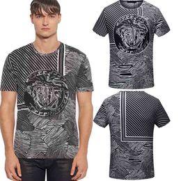 Wholesale Italian Fashion Designer - 2018 Spring T-shirts Italian Mens Medusa t shirts Zebra Stripes Print Casual tshirt designer Short Sleeve Brand clothes Tops tee shirts Gray