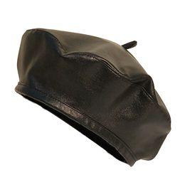 2018 nuovo berretto in pelle PU regolabile berretto moda autunno inverno cappello caldo donne berretti uomini cappelli casuali all'ingrosso cheap women leather berets da berretti in pelle donna fornitori