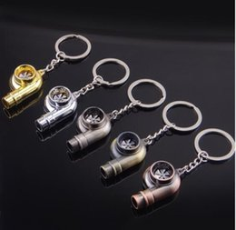 Wholesale Fairy Models - Real Whistle Sound Turbo Keychain Sleeve Bearing Spinning Auto Part Model Turbine Turbocharger Key Chain Ring Keyfob Keyring