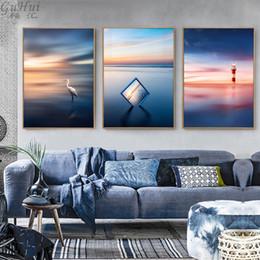 Wholesale Sea Poster Landscape - Scandinavian Beautiful Sea Sunrise Lighthouse Canvas Painting Home Living Room Seagull Pictures Decorative Landscape Art Posters