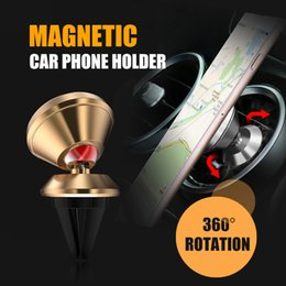 Wholesale universal car mount vent - Universal Aluminum alloy Air Vent Magnetic Car Mount cell phone holder For iPhone and Android Smartphones car phone holders