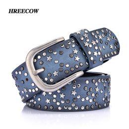 Wholesale Inlay Buckle - Genuine Leather Rivet Inlay stars Belt For Women Fashion Pin Buckle Waist Women Belts Luxury Brands Leather Belt Female